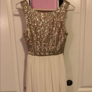 White and Gold Sequin Homecoming Dress